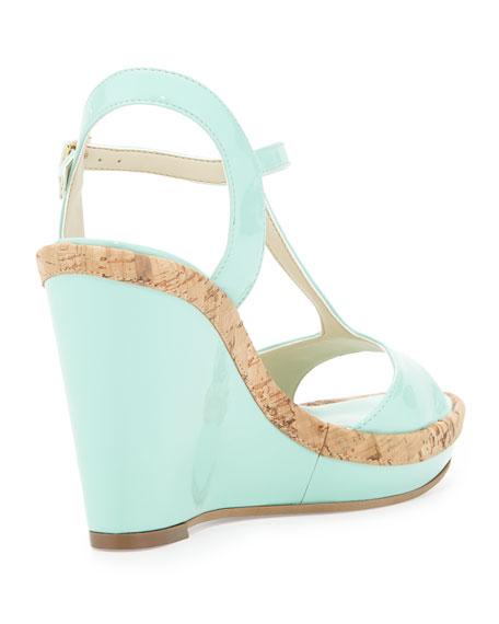 Deanne Patent & Cork T-Strap Wedge Sandal, Mint