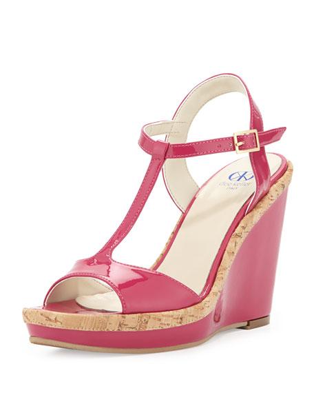 Deanne Patent & Cork T-Strap Wedge Sandal, Fuchsia