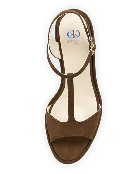Deanne Suede T-Strap Wedge Sandal, Olive