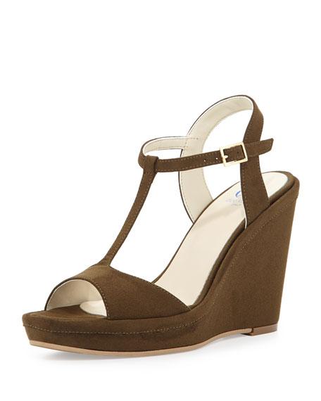 Dee Keller Deanne Suede T-Strap Wedge Sandal, Olive