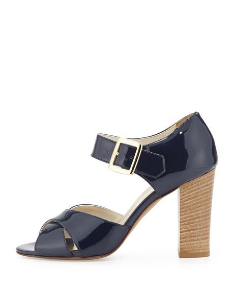 Harper Patent Criss-Cross Sandal, Navy