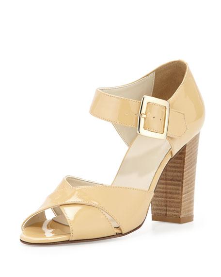 Dee Keller Harper Patent Criss-Cross Sandal, Nude