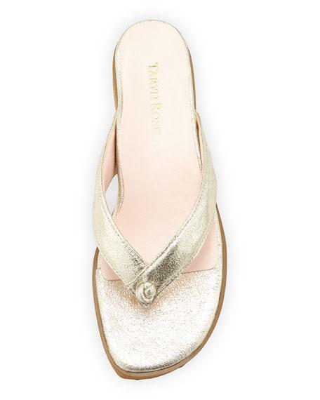 Tara Suede Thong Sandal, Soft Gold