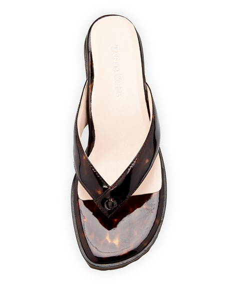 Tara Patent Thong Sandal, Tortoise