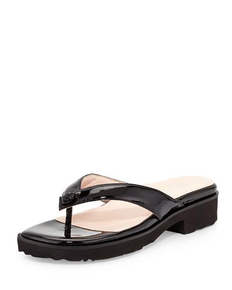 Tara Patent Thong Sandal, Black