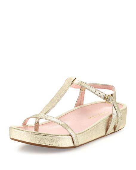 Taryn Rose Amor Suede Thong Sandal, Gold