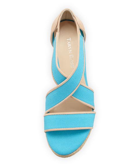 Krissy Crisscross Espadrille Wedge, Turquoise