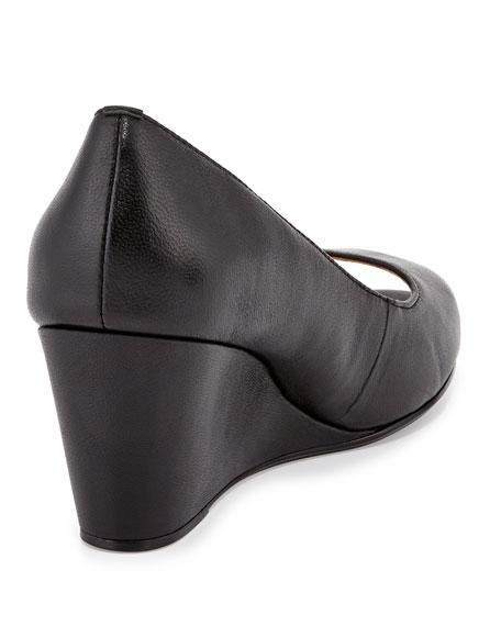Kimberly Leather Peep-Toe Wedge, Black