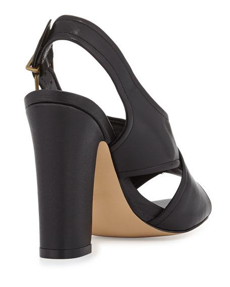 Eloise Crisscross Leather Sandal, Black