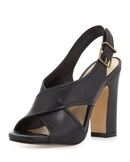 Eloise Crisscross Leather Sandal, Black