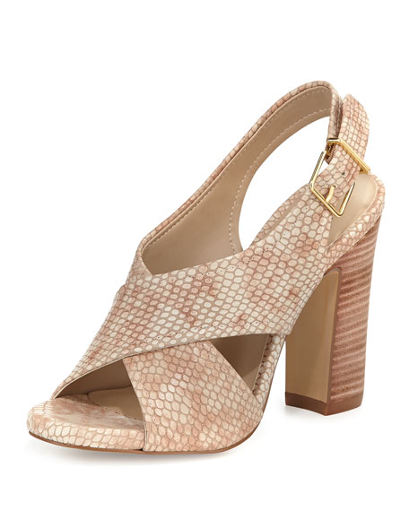 Neiman Marcus Eloise Crisscross Leather Pump, Nude