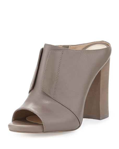 Neiman Marcus Evie Glove Leather Mule, Fog