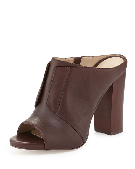 Evie Leather Mule Slide, Spice