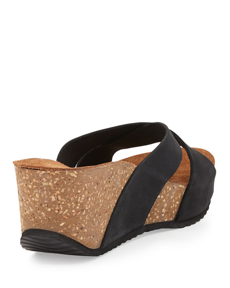 Mirabel Crisscross Nubuck Wedge Sandal, Black