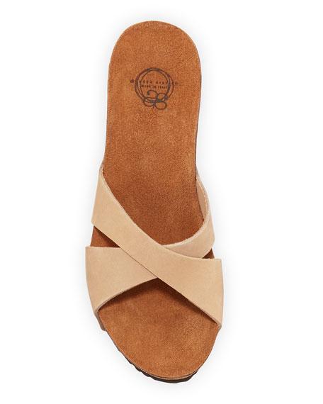 Mirabel Crisscross Nubuck Wedge Sandal, Camel