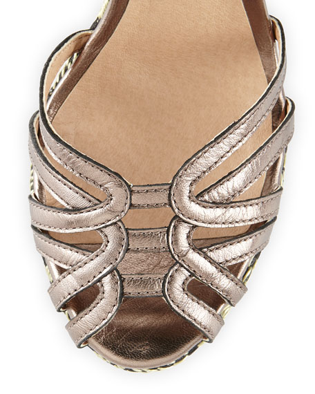 Odell Metallic Wedge Sandal, Pewter