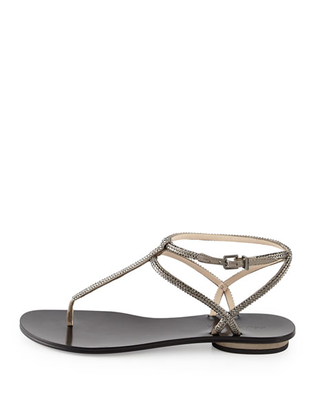 Ellie Strappy Embellished Sandal, Pewter