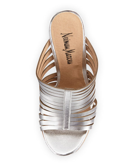 Leroy Strappy Metallic Slide-On Wedge, Silver