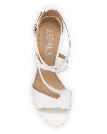 Dina Strappy Patent Leather Sandal, White