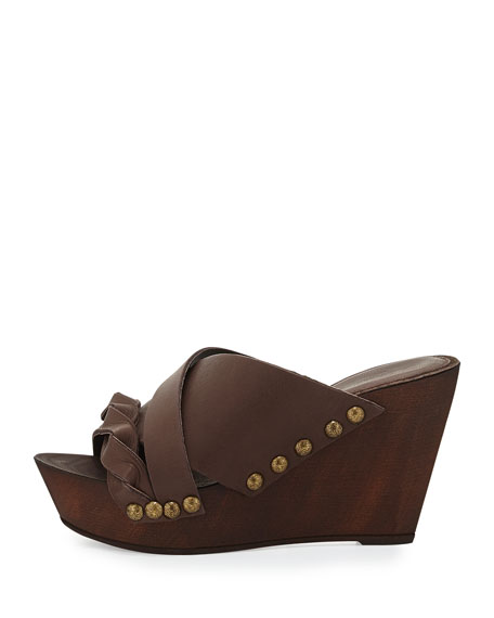 Menum Braided Leather Wedge Sandal, Brown