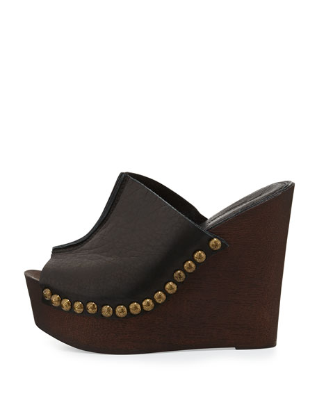 Recchia Leather Woodgrain Sandal Wedge, Black