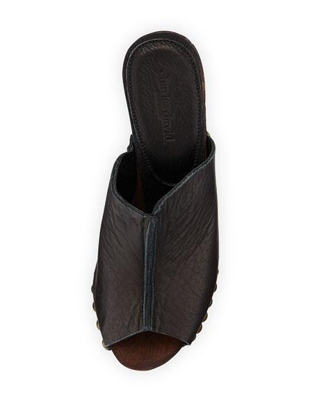 Recchia Leather Woodgrain Sandal Wedge, Black