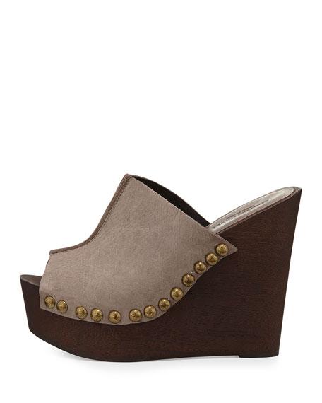 Recchia Leather Woodgrain Sandal Wedge, Taupe