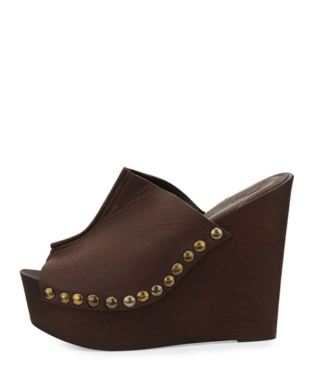 Recchia Leather Woodgrain Sandal Wedge, Brown
