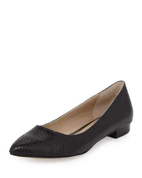 Rosie Pointy-Toe Snake-Embossed Flat, Black