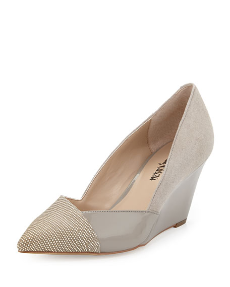 Neiman Marcus Mara Mixed-Media Pointy Wedge, Dove
