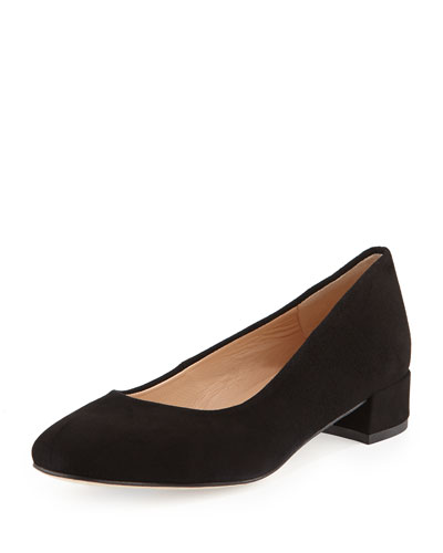Viviana Suede Low-Heel Pump, Black