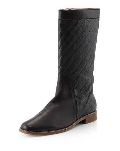 Gail Quilted Leather Boot, Black