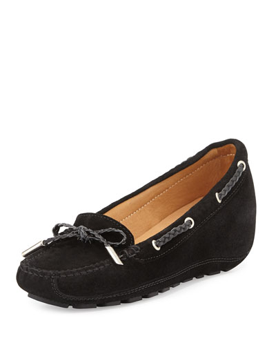 Ofilia Suede Wedge Loafer, Black