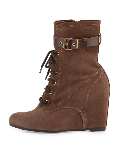 Fergie Suede Wedge Bootie, Taupe