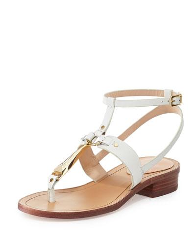 Acadia Flat Vachetta Sandal, Off White