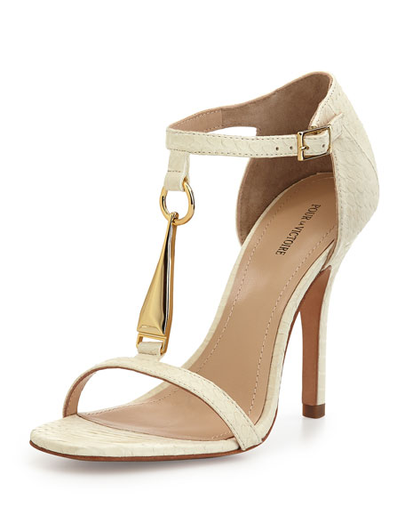 Yolanda Golden T-Strap Dress Sandal, White