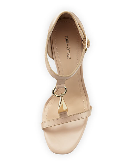 Yolanda Golden T-Strap Dress Sandal, Nude