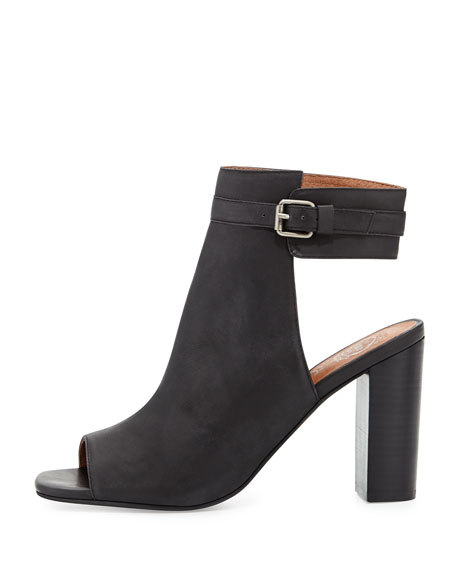Canal Leather Peep-Toe Bootie, Black
