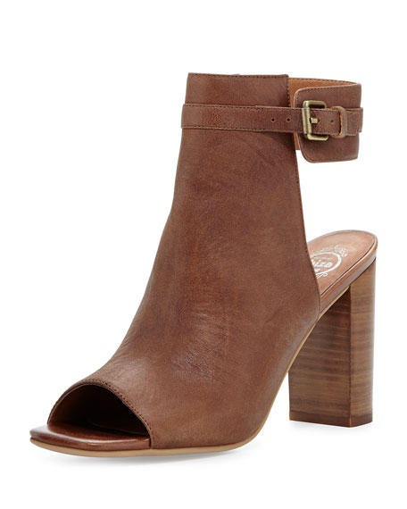 Canal Leather Peep-Toe Bootie, Tan
