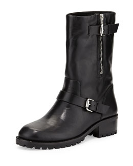 VC Signature Riona Leather Moto Boot, Black