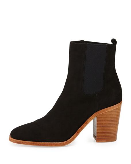 Sarla Suede Stretch-Gore Ankle Boot, Nero