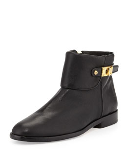 VC Signature Kalypso Fold-Over Turn-Lock Ankle Bootie, Black