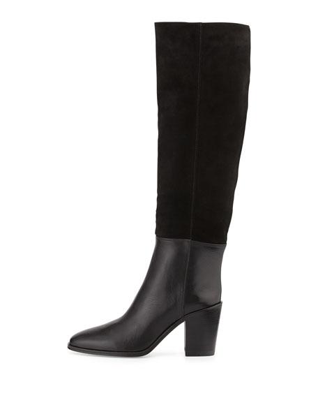 Sukey Suede Shaft Knee Boot, Nero (Black)
