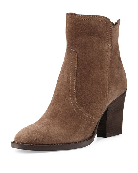 Aquatalia Farah Suede Ankle Boot, Mud Rub (Brown)