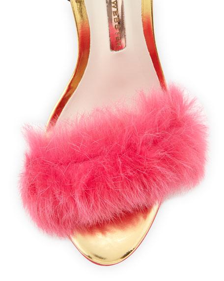 Nicole Ostrich & Rabbit Fur Sandal, Hot Pink