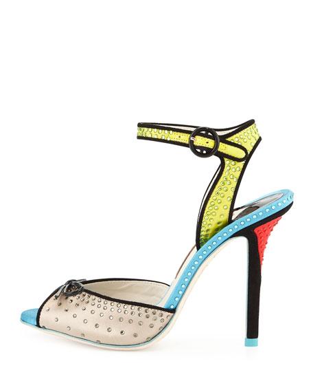Lula Satin & Crystal Sandal, Gray