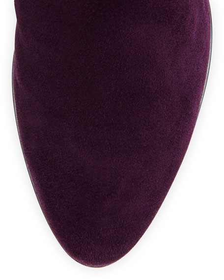 Rhumba Stretch Suede Knee Boot, Plum