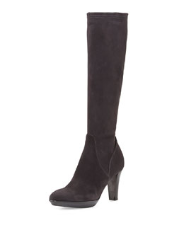 Aquatalia Rhumba Stretch Suede Knee Boot, Charcoal