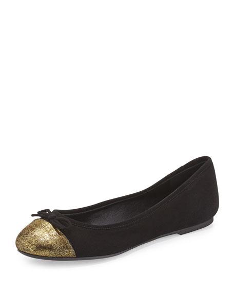 Delman Blake Round-Toe Ballerina Flat, Black/Gold