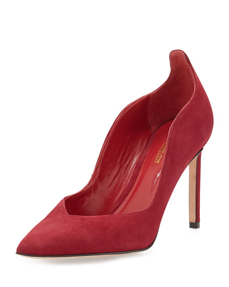 Brie Point-Toe Kid Suede Pump, Deep Red
